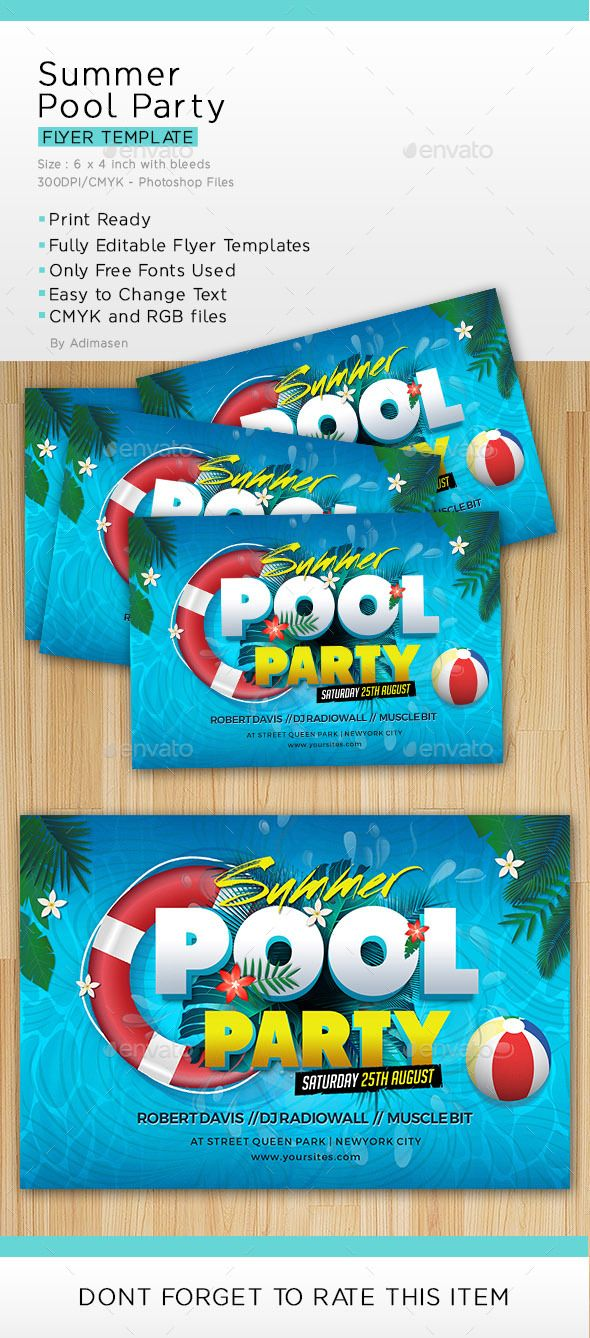 Summer Pool Party | Pinterest | Summer pool, Party flyer and Flyer ...