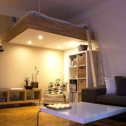 Marvelous Adult Loft Bed Bespoke Wood Lights Best Design 2016