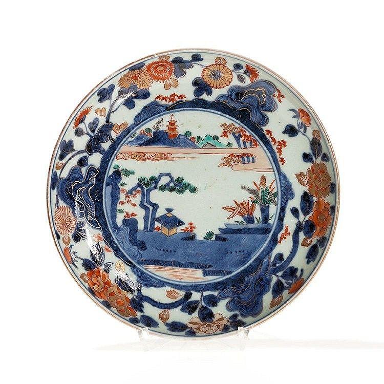 Imari Porcelain Plate With Landscape Scene Japan Description Ko