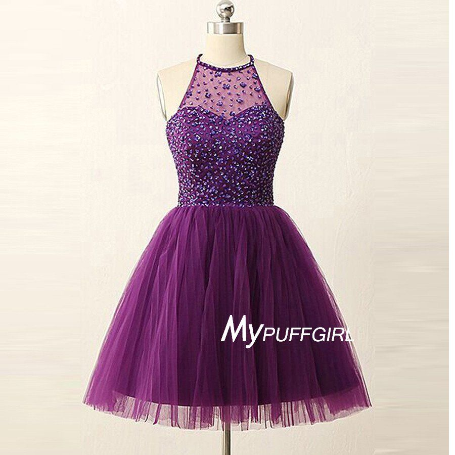 Beaded Purple Halter Tulle Cocktail Dress, Homecoming Dress With ...