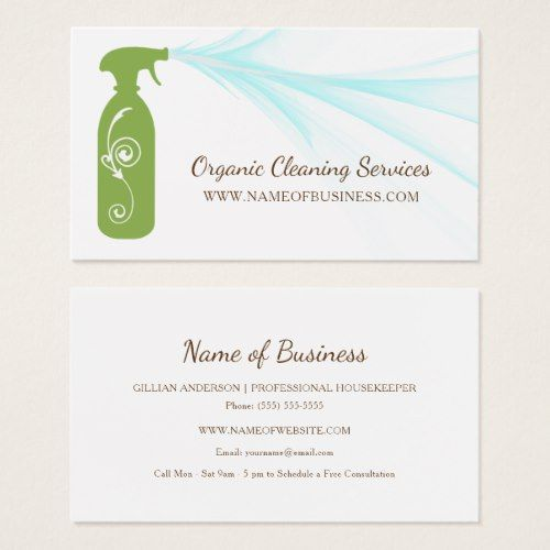 Fresh Green Spray Bottle Organic Cleaning Services Business Card Zazzle Com Cleaning Service Organic Cleaning Products Green Spray Bottle