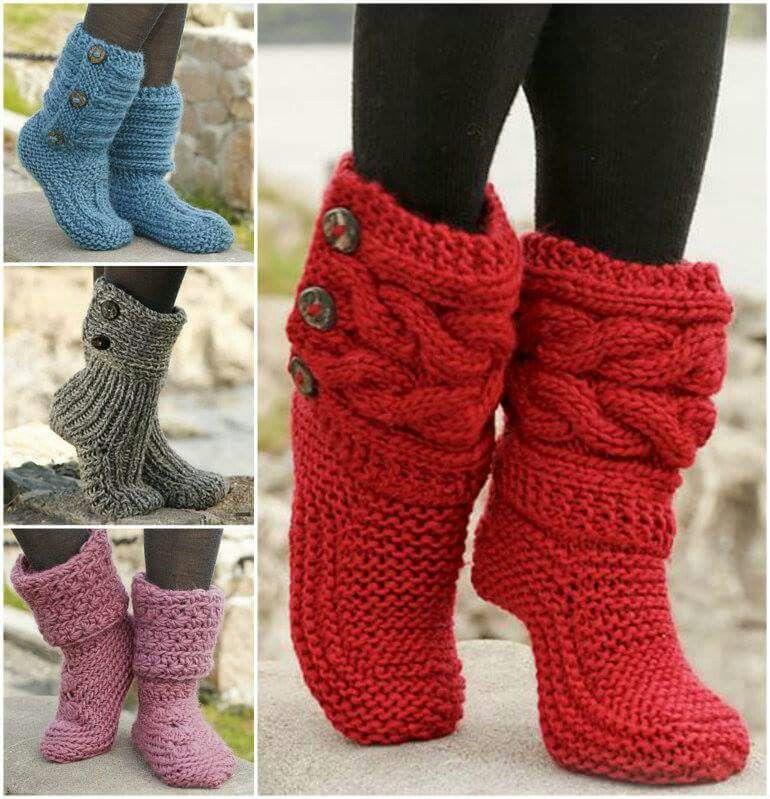 Botines tejidos con botones de adorno. | guantes y botines tejidos ...