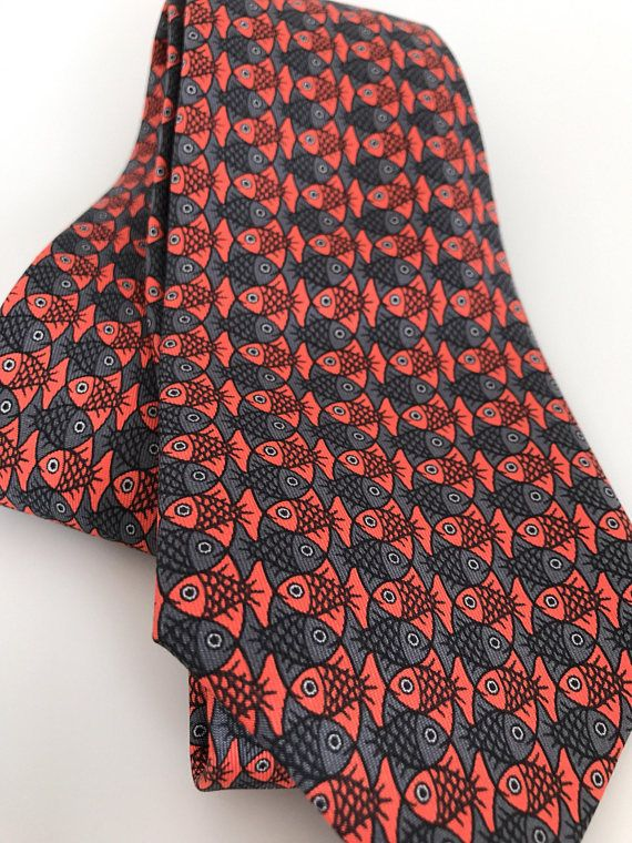 054d9eac26c3 MINT Cond Vintage Hermes Tie 7322 EA Fish Red Gray Silk, 100% Silk ...