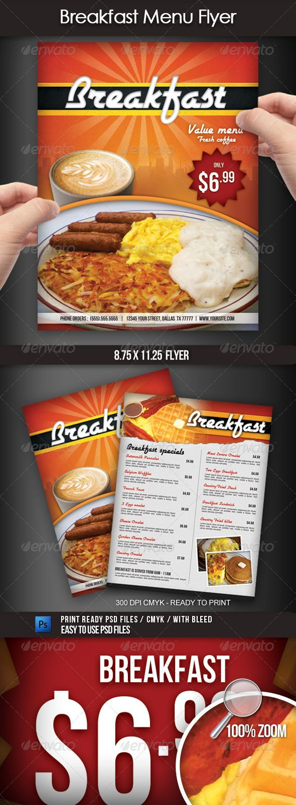 breakfast menu flyer breakfast menu fonts and bacon here we re sharing some delicious best restaurant and food flyer templates a flyer or leaflet is a type of paper advertising campaign meant for broad