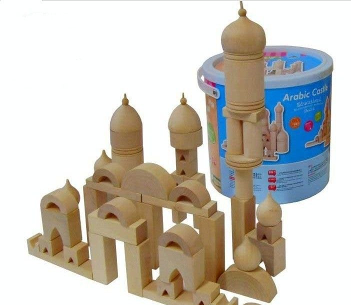 original wooden building arabic castle blocks toys with bucket,