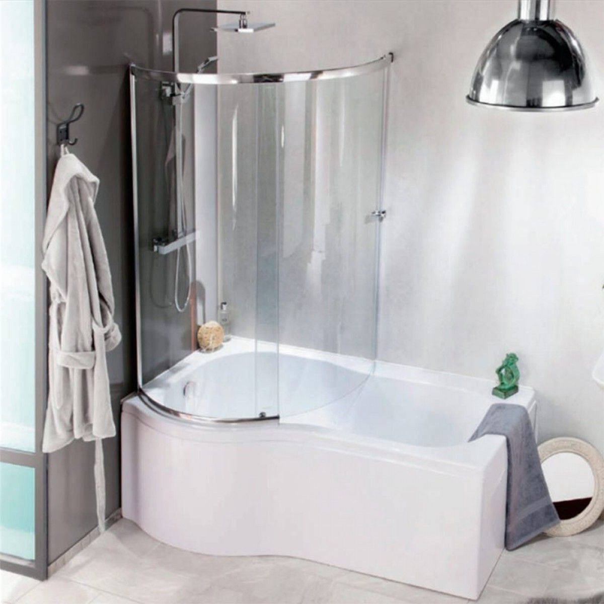 Jonathan P Shaped Enclosed Shower Bath With Screen Front Panel