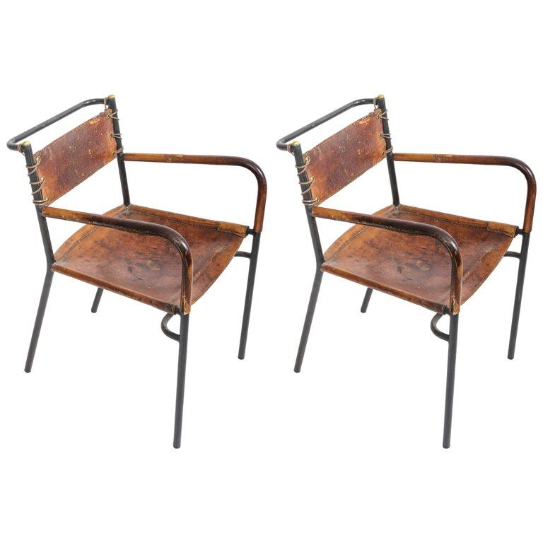 Leather And Metal Armchairs In The Style Of Adnet Wrought Iron
