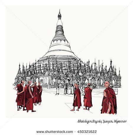 Yangon Myanmar View Of Shwedagon Pagoda Vector Illustration Myanmar Art Shwedagon Pagoda Illustration