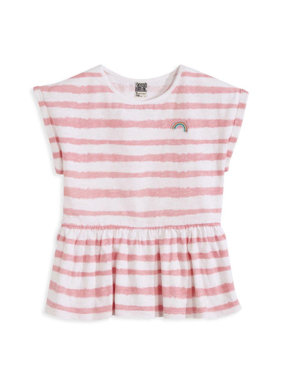 Fille - tee shirt Girl - tee shirt  LE TEE-SHIRT CARAMEL :                     Un tee-shirt mode pour nos filles ! LE TEE-SHIRT CARAMEL, col rond, manches courtes, patch fantaisie placé poitrine, fronces à la taille.