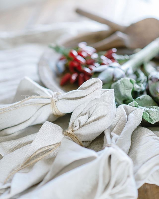Our Beautiful Handmade Linen Napkins Gracing The Table In