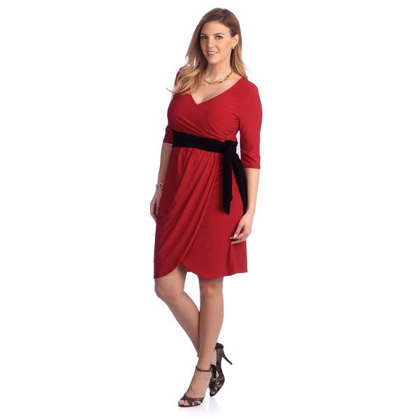 Kiyonna Women's Plus Size Red Harlow Wrap Dress | Overstock.com Shopping - The Best Deals on Dresses