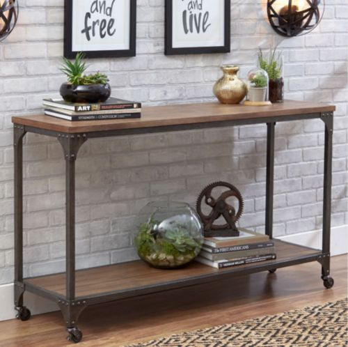 Console Table For Entryway Rustic Industrial Wood Metal Wheels