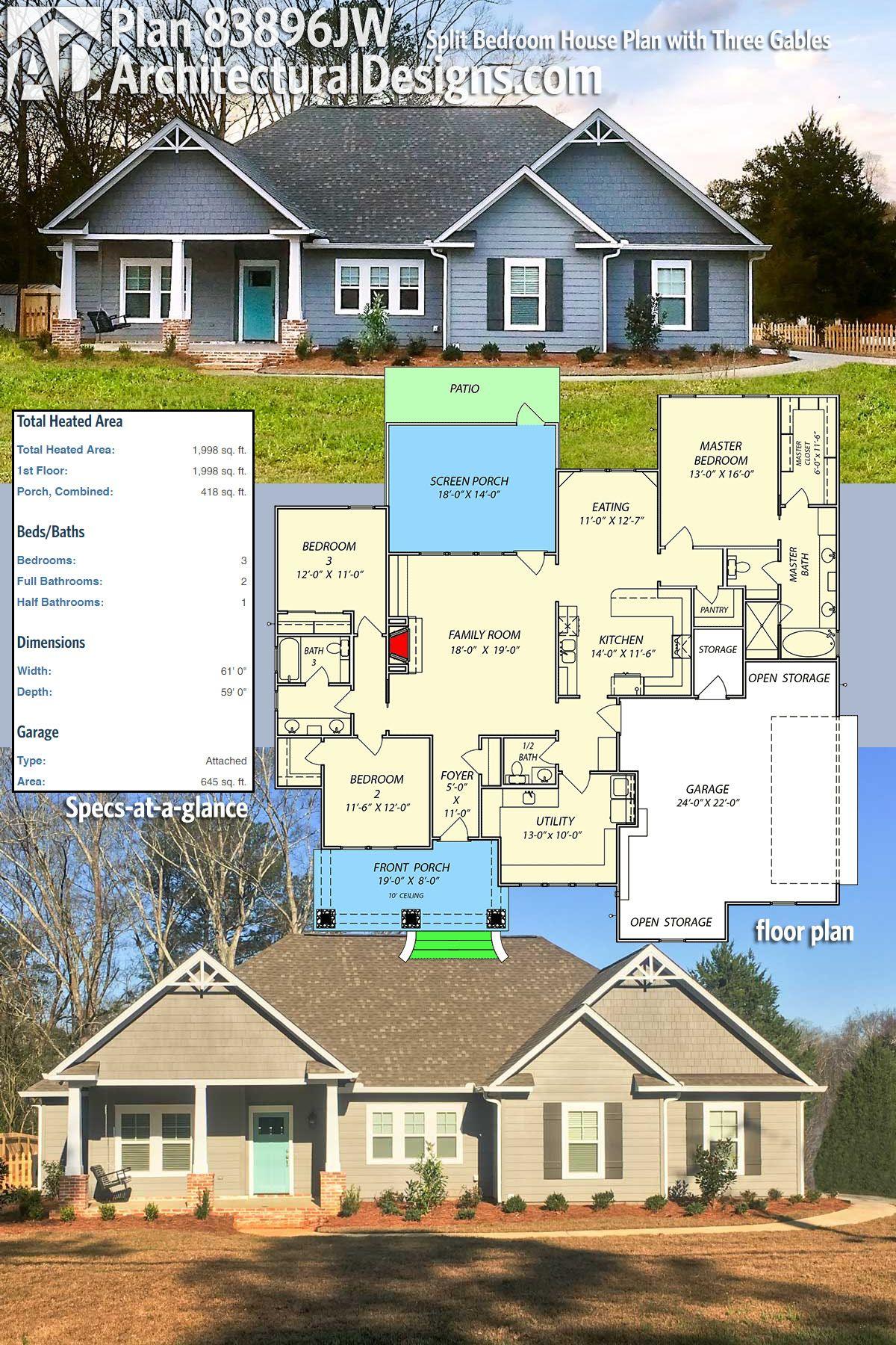 Plan 83896jw Split Bedroom House Plan With Three Gables House Plans Small House Plans Storage Building Plans