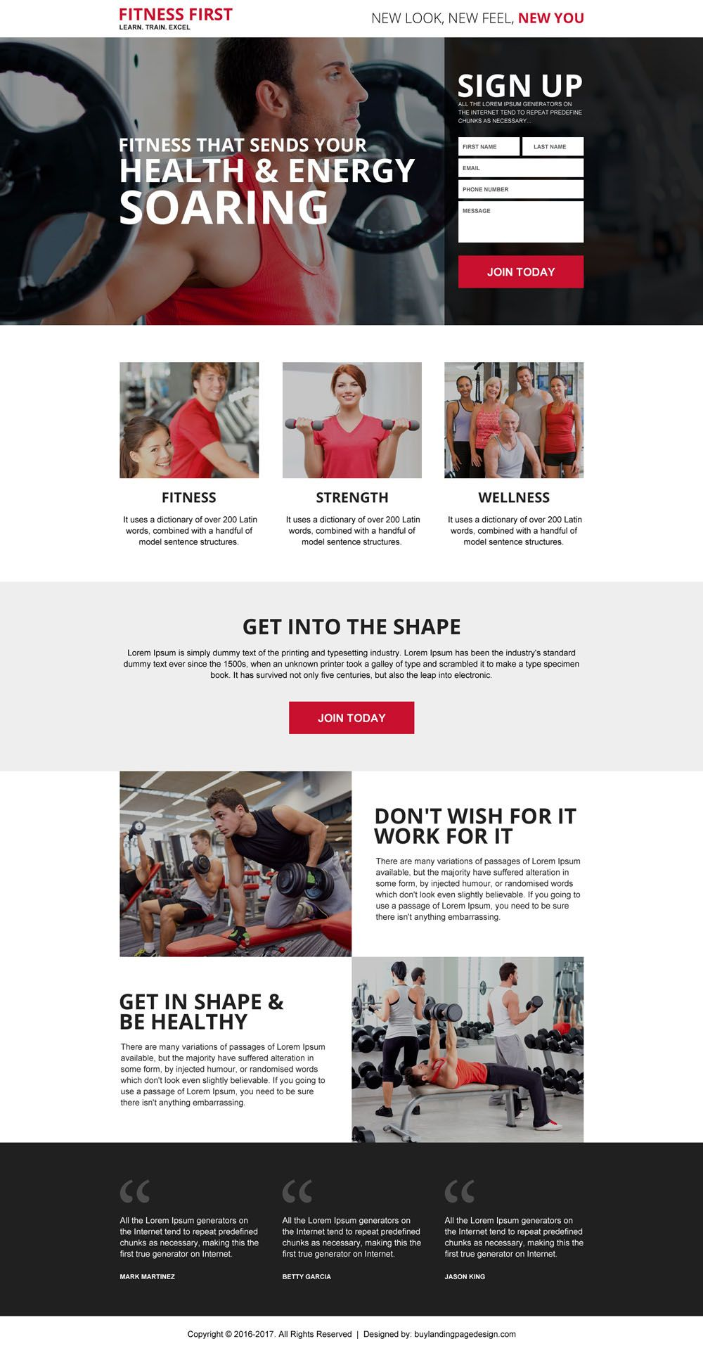 health and fitness best responsive landing page health