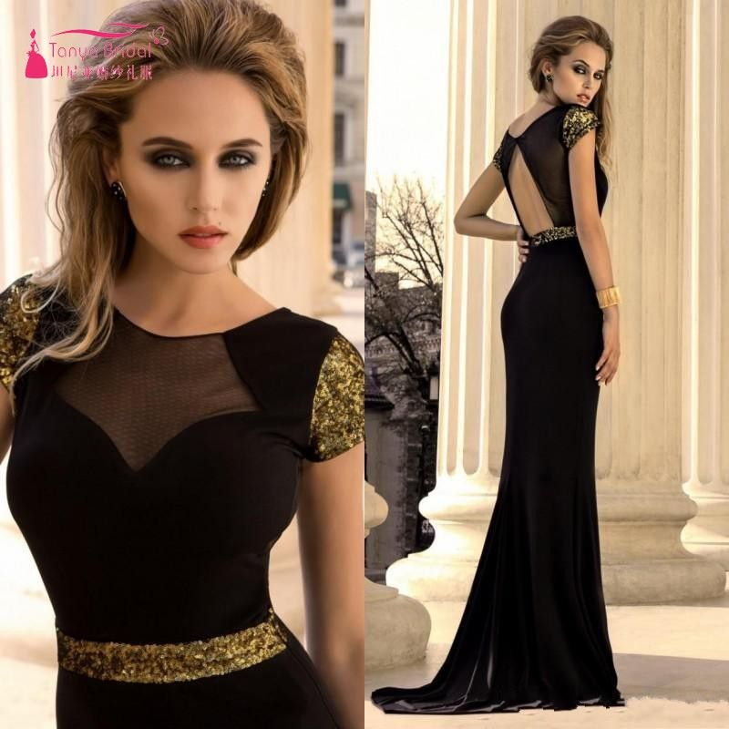 Find More Prom Dresses Information about 2017 New Arrival Black Long Chiffon Mermaid Prom Dresses With Gold Sequin Sexy Open Back Lady Formal Evening Gown Custom Made,High Quality Prom Dresses from Tanya Bridal Store on Aliexpress.com