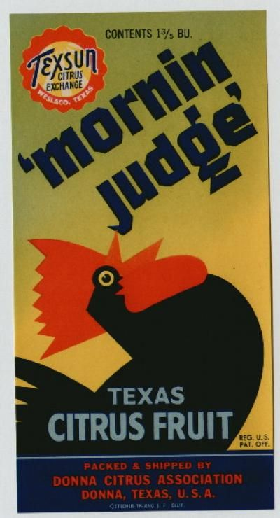 MORNIN JUDGE Vintage Citrus Crate Label(S)