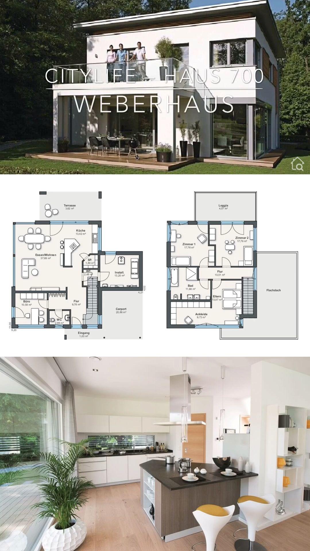 Einfamilienhaus Villa 5 Zimmer Fertighaus im Pultdach bauen – Haus Ideen mit Grundriss