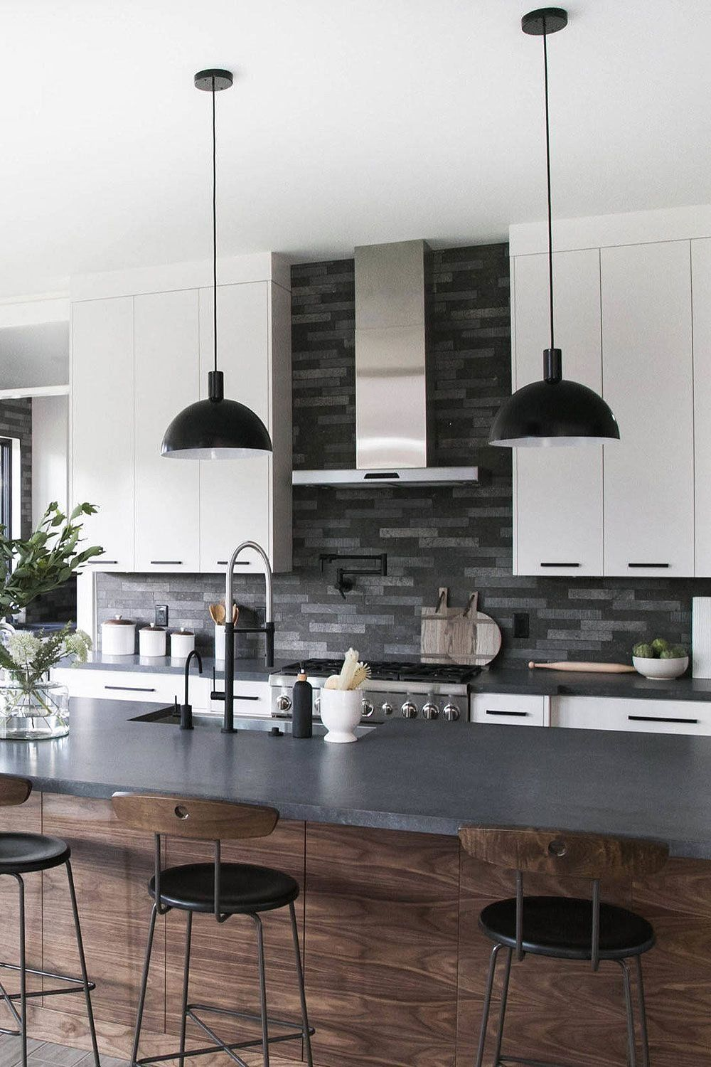Contemporary Kitchen Black Countertop And Backsplash