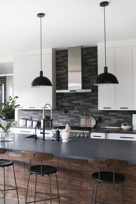 Contemporary Kitchen Black Countertop And Backsplash ... on Modern Backsplash For Dark Countertops  id=27503