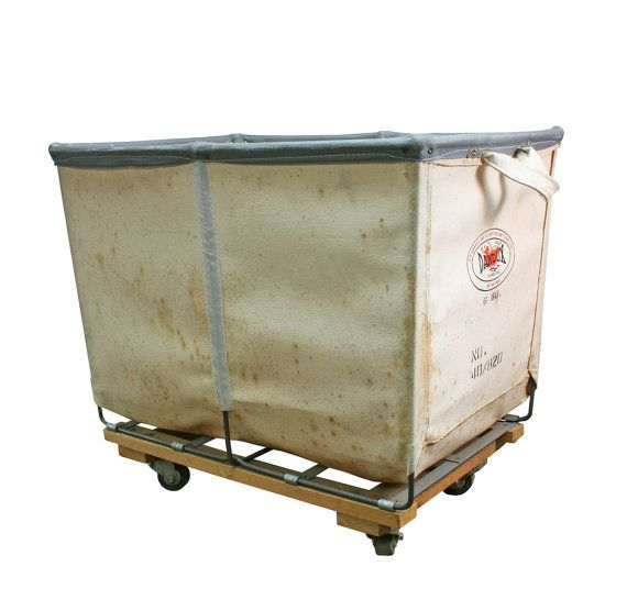 Vintage Industrial Canvas Leather Laundry Cart Small Sized