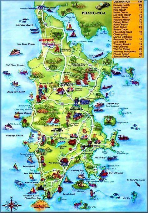 Carte Thailande Avec Distance.Carte Touristique De Phuket Thailande Phuket Thailande