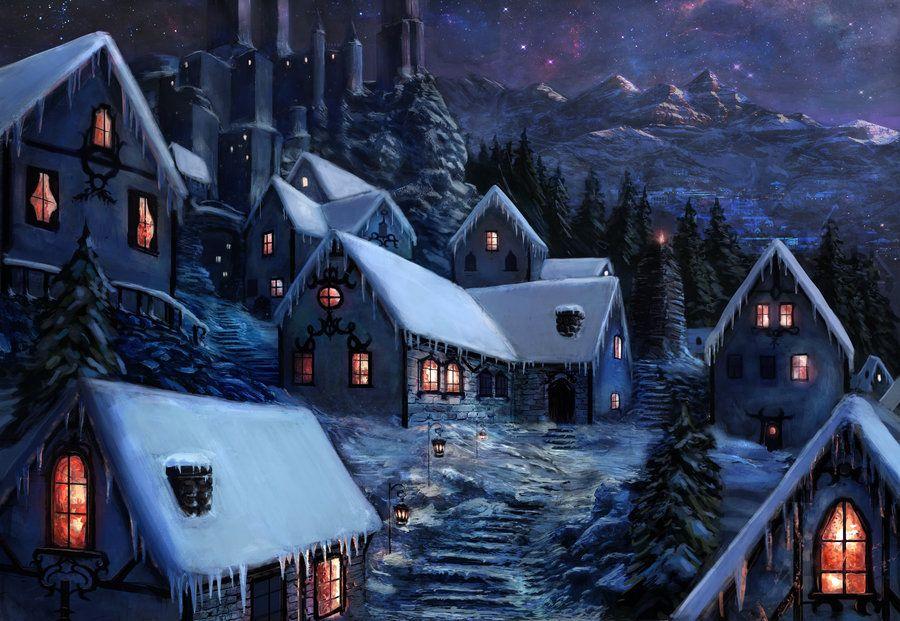 Winter Village Fantasy Landscape Fantasy Town Fantasy Village