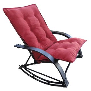 Indoor/ Outdoor Folding Rocking Chair with Chaise and Microsuede Cover | Overstock.com
