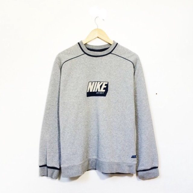 a605ac033 Vintage Retro 80's 90's grey Nike sweatshirt / sweater / jumper / Old  school rare unique sportswear, Size XL but fits like a large - Depop