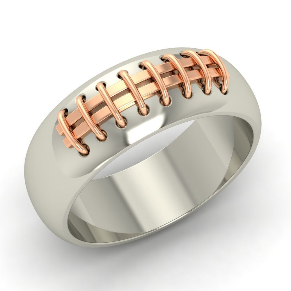 Mens Sterling Silver Two Tone Sporty Wedding Anniversary Promise