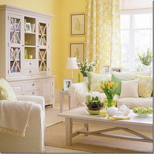 Salón con paredes amarillas y muebles blancos   Yellow Shabby Chic Living  Room Ideas 390b4a1ef752