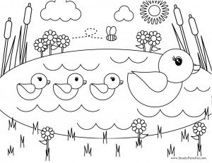 Free Printable Easter Coloring Page Coloring Page Of Ducks On A