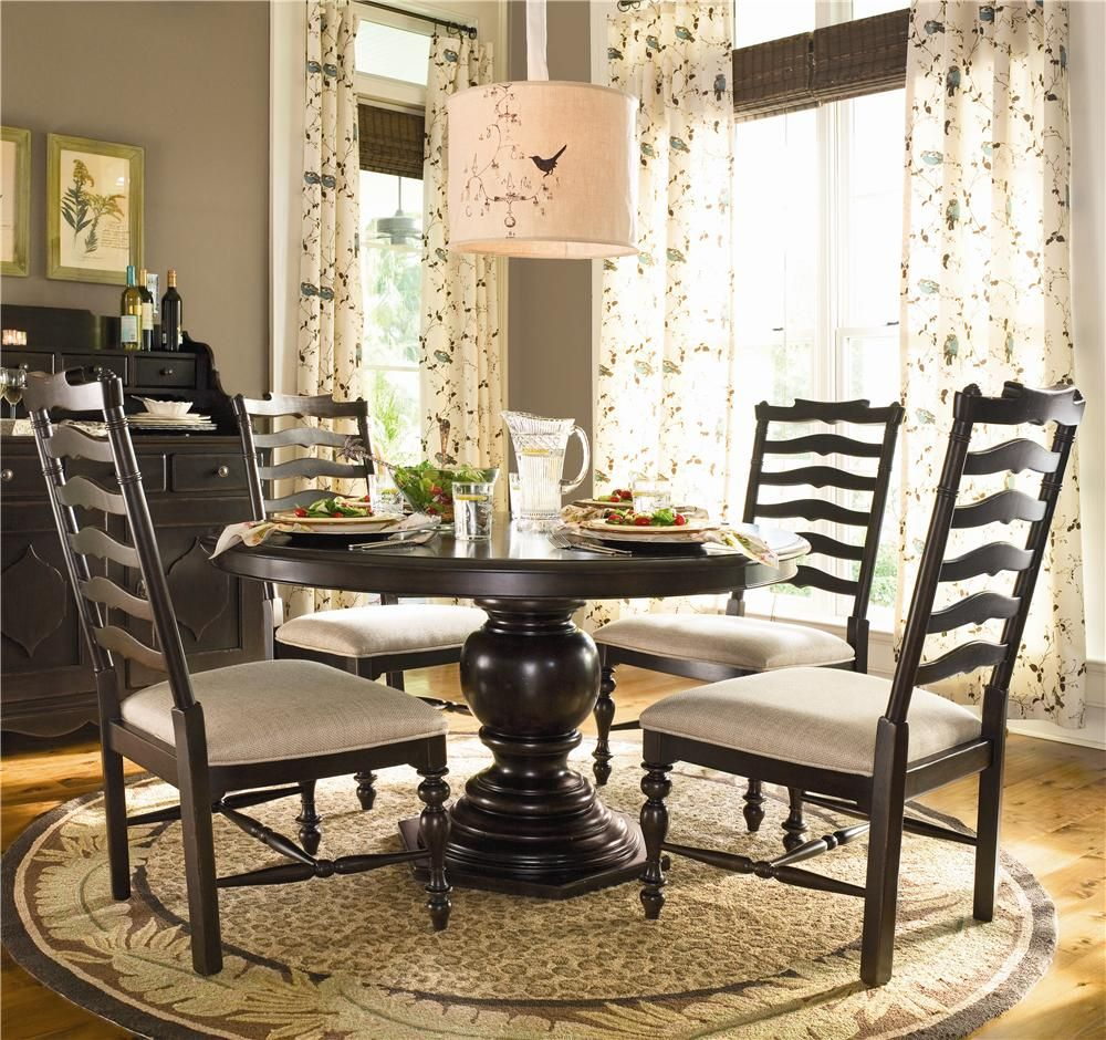 Paula Deen Home Round Dining Table W 4 Ladder Side Chairs By Paula Deen By Universal Round Pedestal Dining Table Pedestal Dining Table Round Pedestal Dining