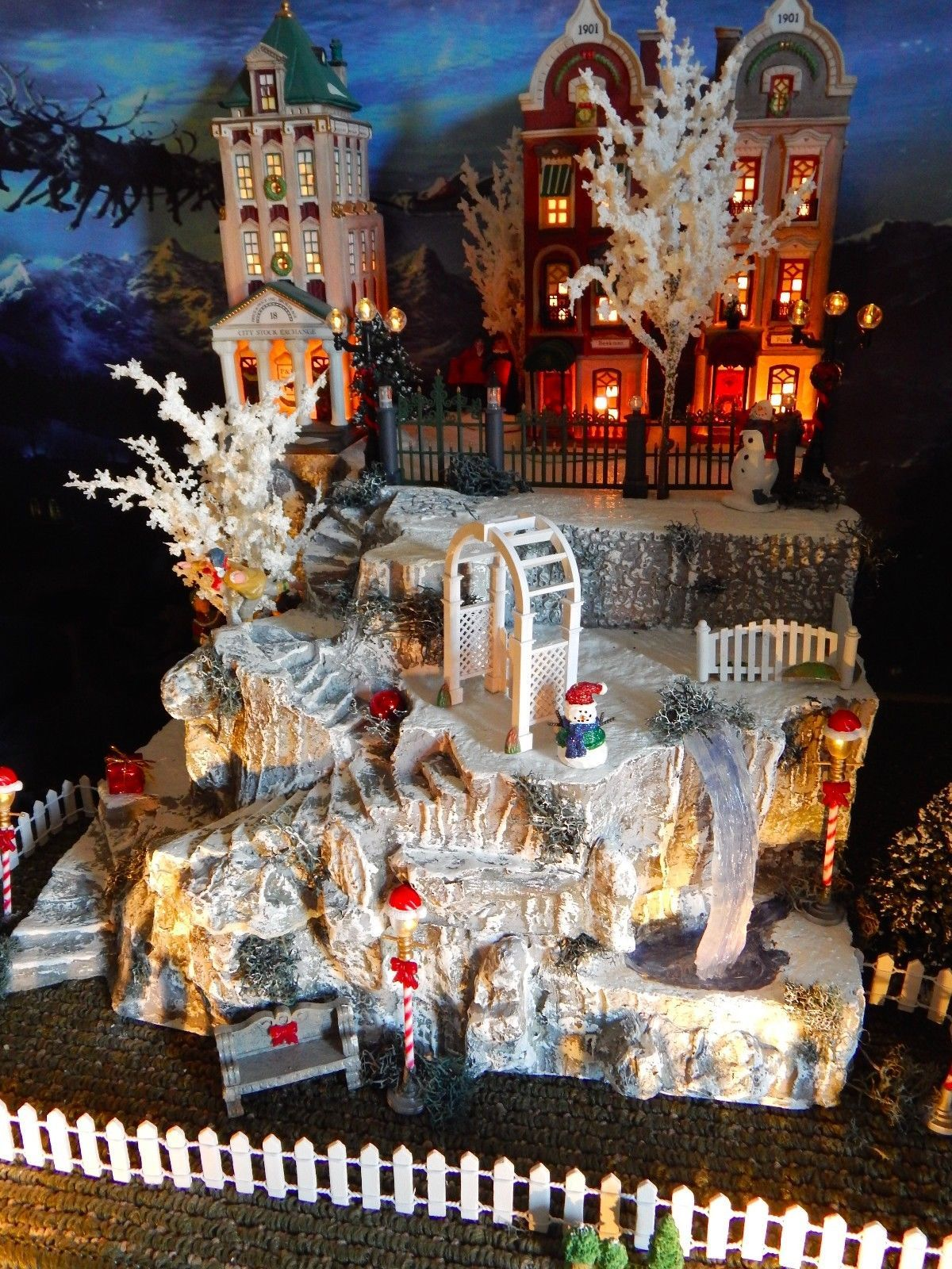 Tall Lighted Cave Christmas Village Display Winding Stairs