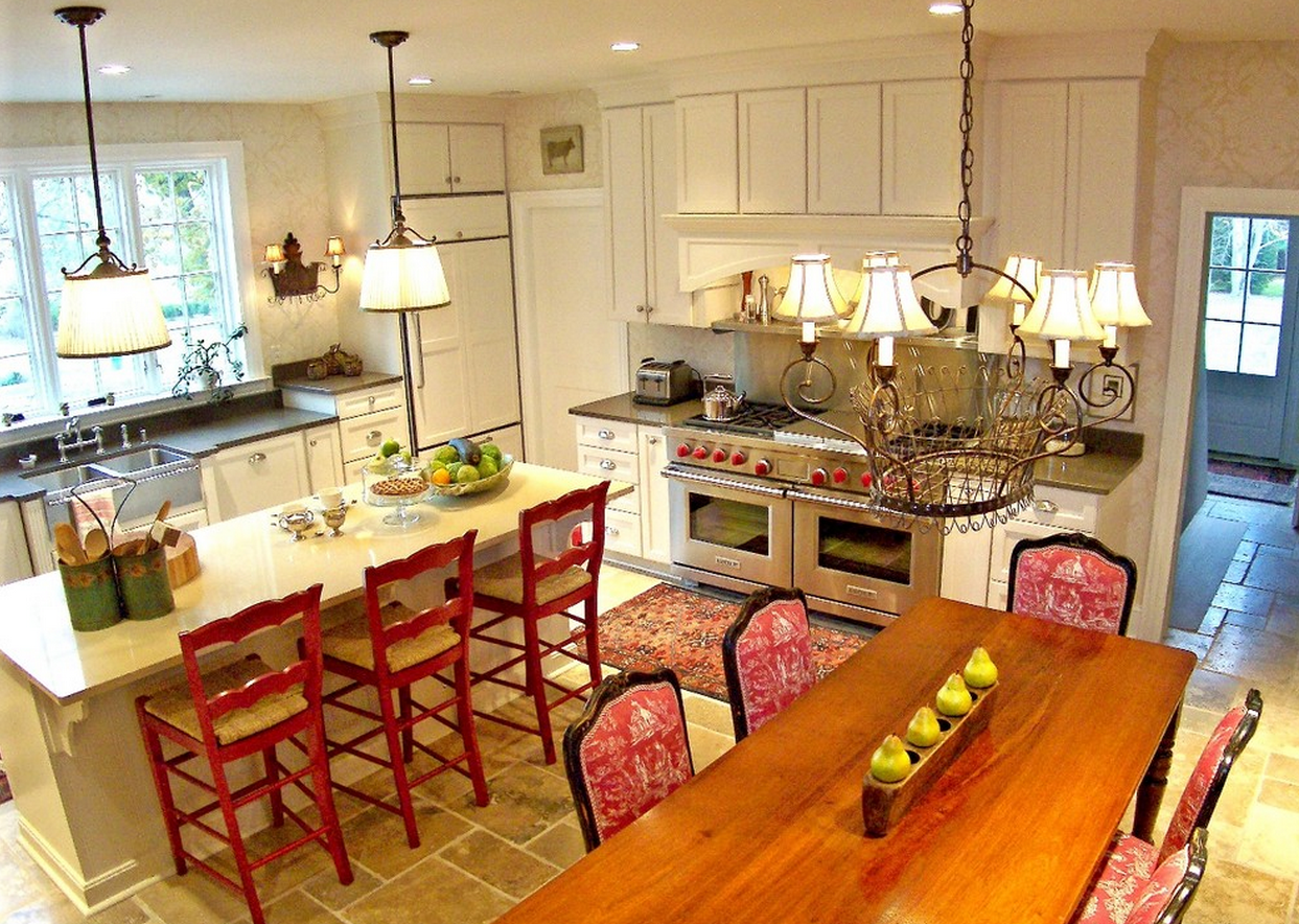 really like this kitchen, placement, island (?), fridge,raised counter.