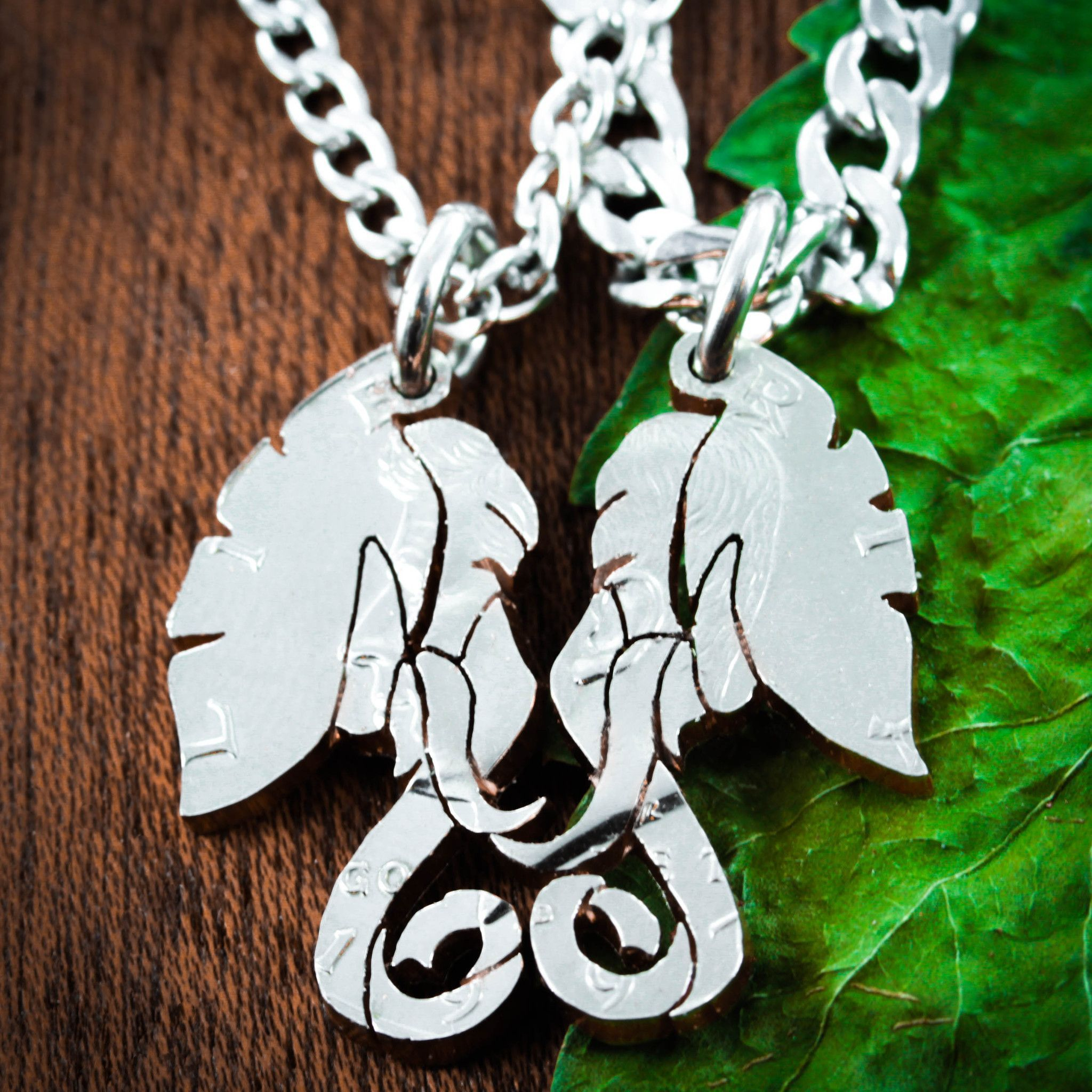 Elephant Couples Necklaces, His and Her Relationship Jewelry, hand cut coin by NameCoins