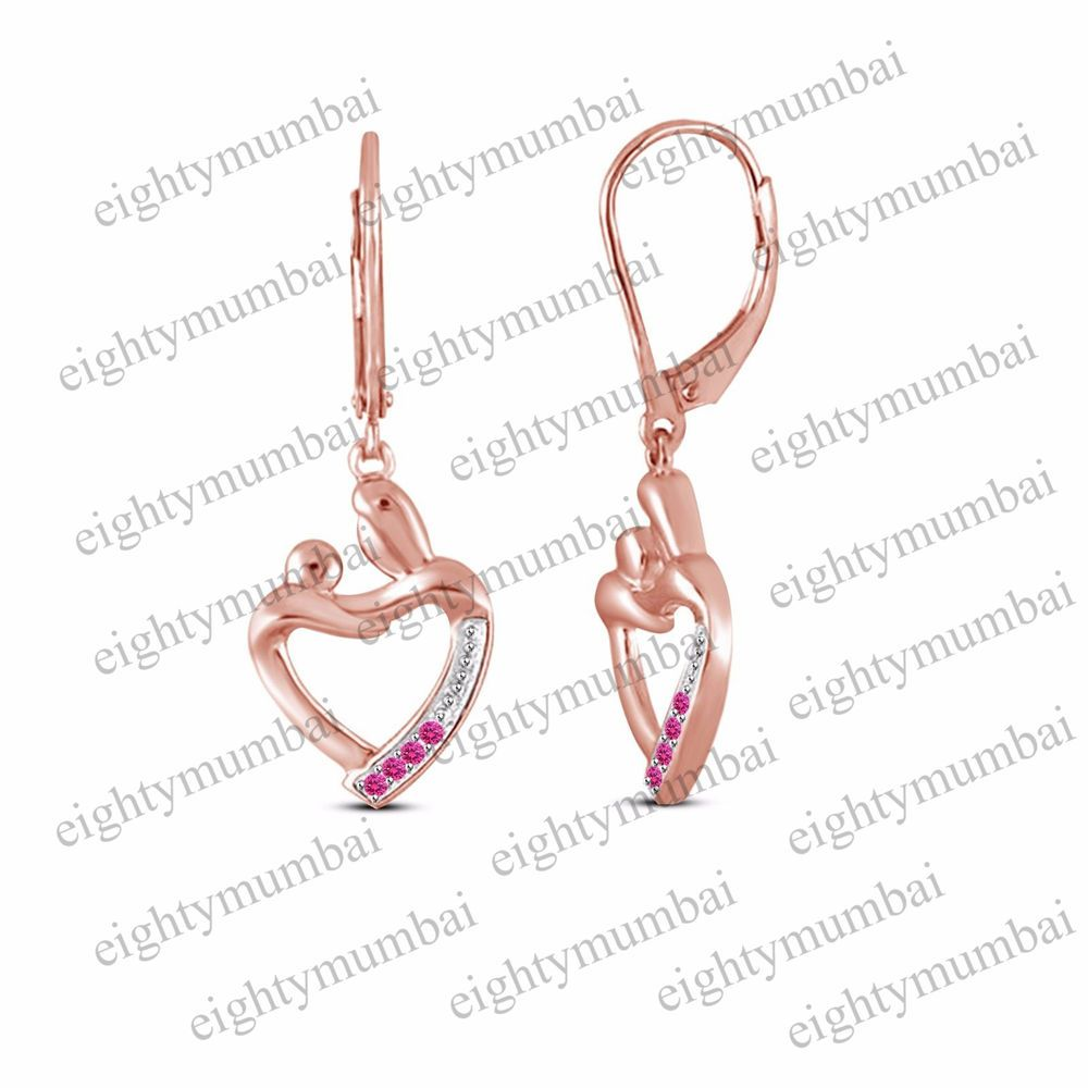 Rose Gold Over 925 Silver Round Pink Shire Mother Child Heart Dangle Earrings