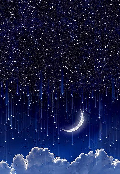 Day Night Moonlight Double Border Designer Digital Print Night Sky Wallpaper Night Sky Painting Sky Painting