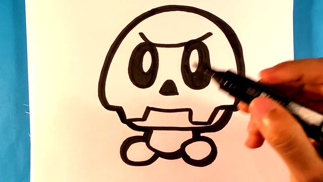 How to Draw Paper Mario Dry Goomba Nintendo Drawing for
