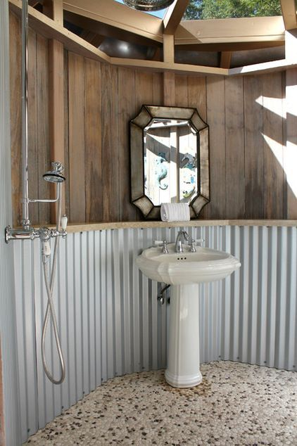 Neat outdoor bathroom idea i wonder if it would be too for Outdoor pool bathroom ideas