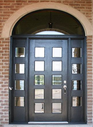 Unique Entry Doors On Solid Mahogany Front Door And Side Lights With Black  Stain