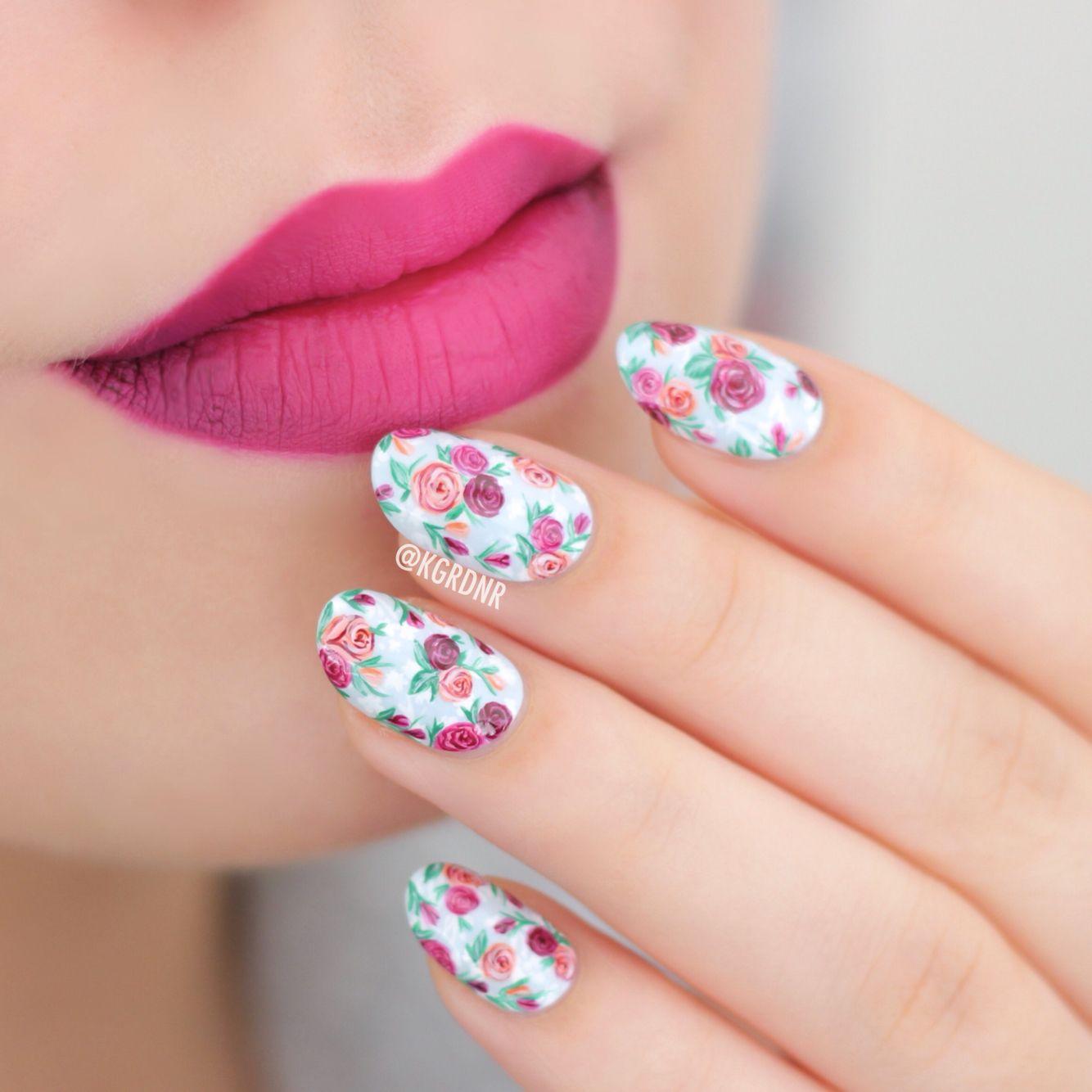 Ombré lips & hand painted floral nails for #WNAC2015 with Essie Find Me An Oasis   Lacquerstyle.com   kgrdnr   #lacquerstyle #kgrdnr #nailart #nailartist #artist #art #handpainted #freehand #nails #essie #ombre #ombrelips #katvond #bauhau5 #backstagebambi #vampira #liquidlipstick #lipstick #gradient #gradientlips #lips #makeup #nailpolish #floralnails #flowers #rosenails #roses #florals #love #beautiful