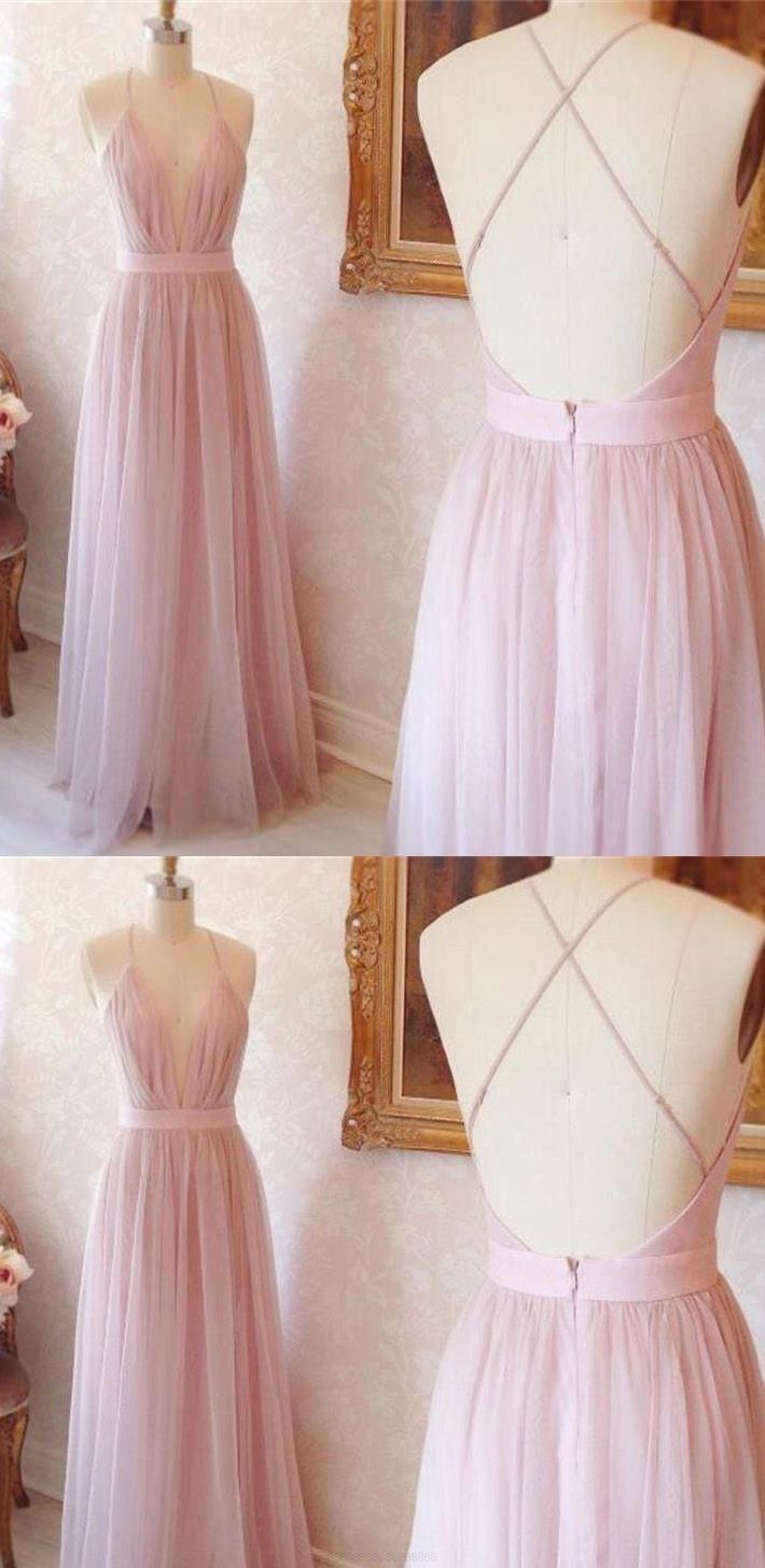 Vneck evening dresses pink long prom dresses aline vneck long