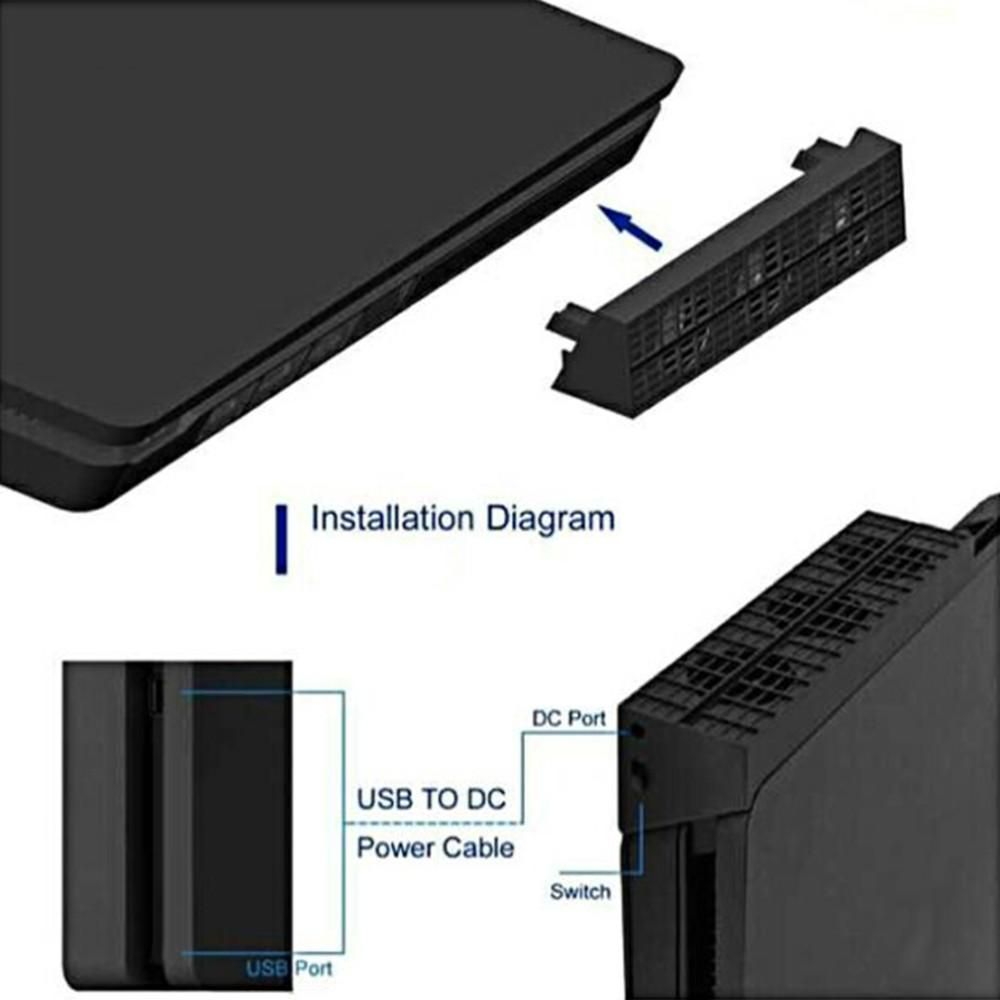External Cooling Fan System for PS4 Slim Console