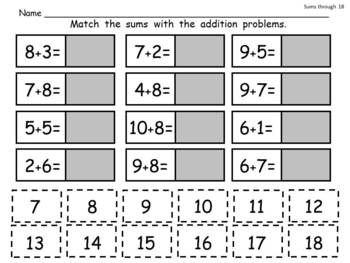 addition cut and paste practice nice review for early nd grade  addition cut and paste practice nice review for early nd grade   pages sums through