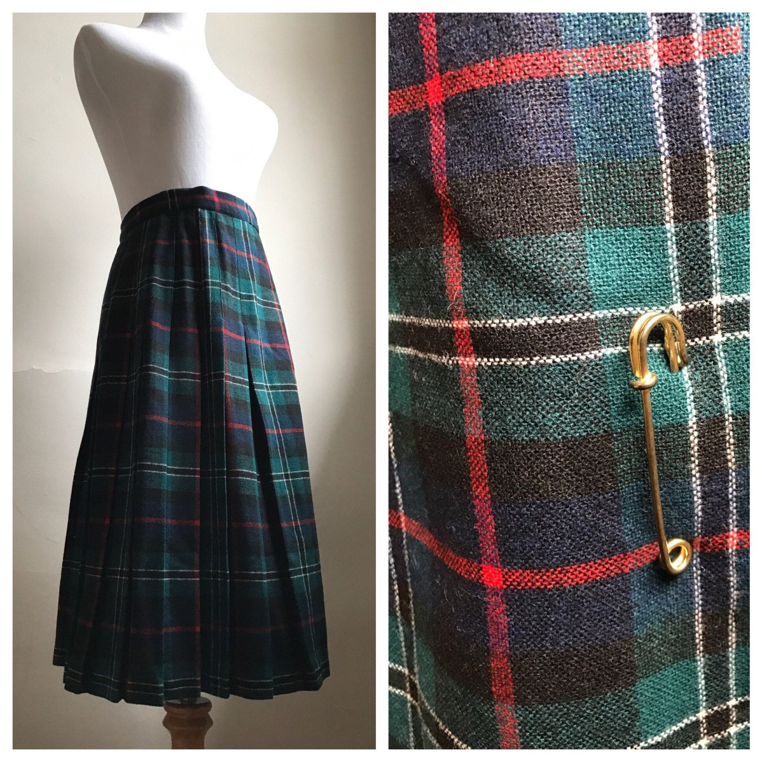 cfd23af5 Vintage Tartan Plaid Pleated Skirt | 70s Green Christmas Plaid Skirt |  Irish Plaid Style Skirt | School Girl Preppy Skirt | FREE SHIPPING by ...