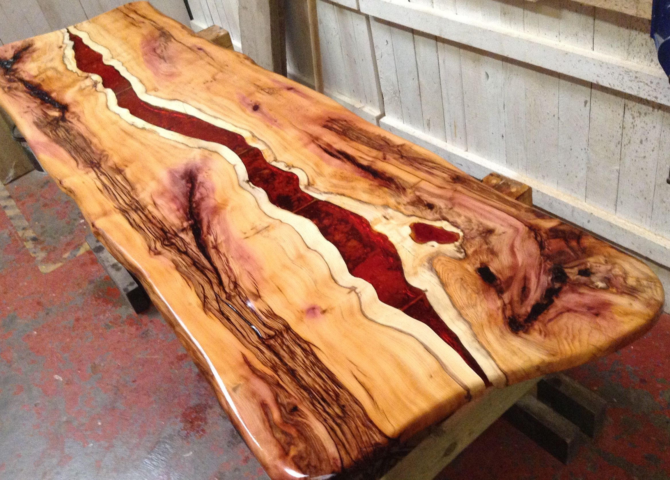 Live edge yew with dark amber resin feature wall art for Resin wall art