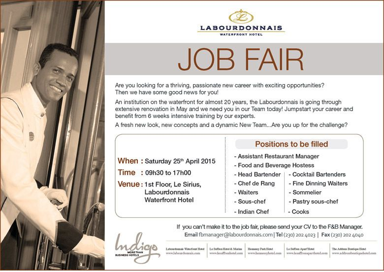 Indigo Hotels Labourdonnais Waterfront Hotel Job Fair Info 202 4023 Adverts Latest Hotel Jobs Job Fair Job
