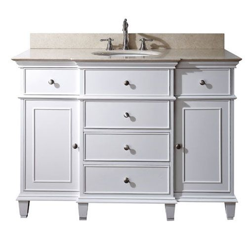 Windsor White 48 Inch Vanity With Galala Beige Marble Top Girls