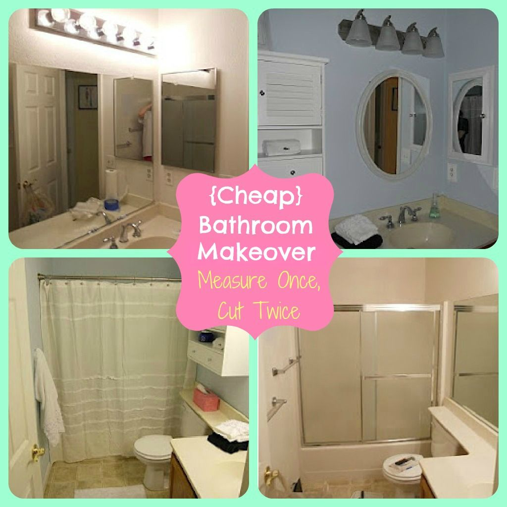 Inexpensive Bathroom Makeover: Measure Once, Cut Twice: Cheap Bathroom Makeover