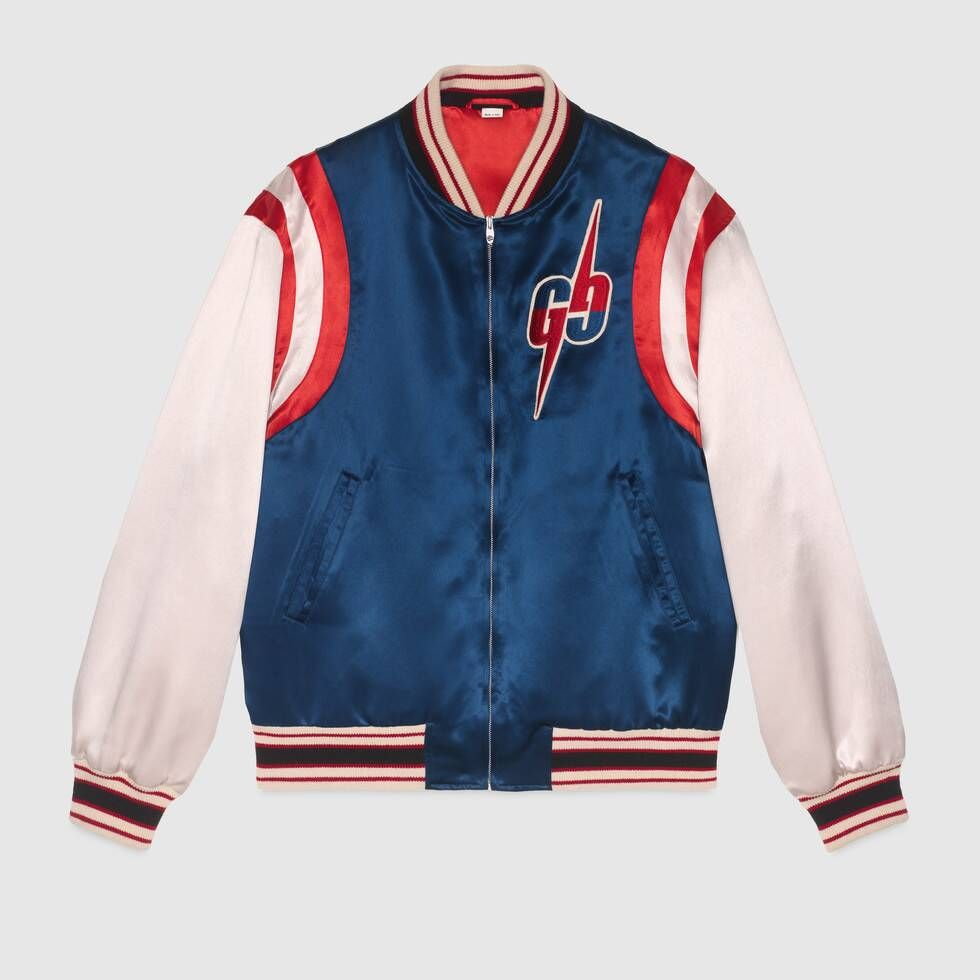 Shop The Blue White Acetate Bomber Jacket With Gg Blade At Gucci Com Enjoy Free Shipping And Complimentary Gift Wrapping [ 980 x 980 Pixel ]